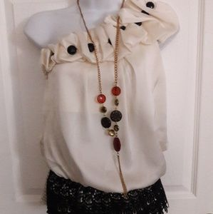 NEW Annabelle ivory black top size small